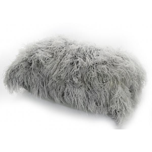 Grey Ostrich Feather Small Cushion