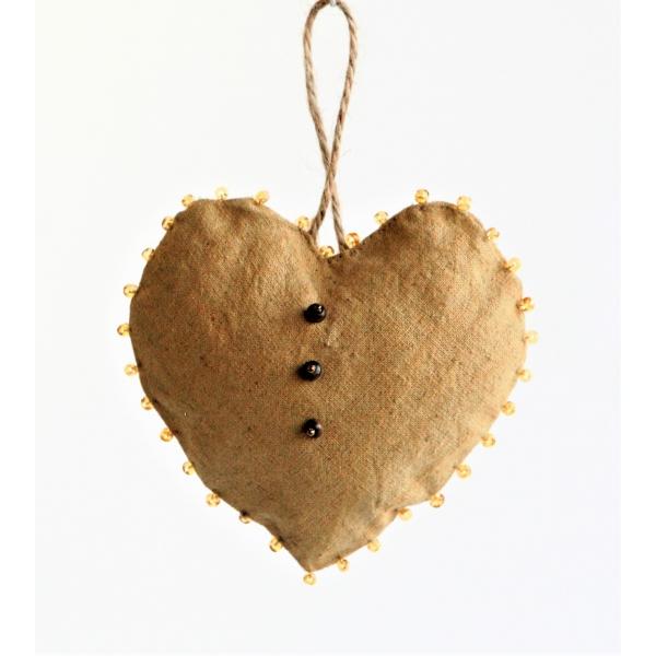 Golden hemp heart with glass beads