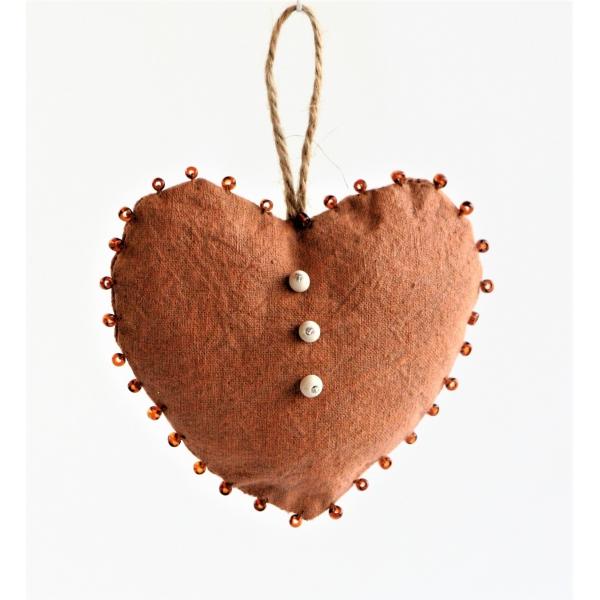 Rustic hemp heart with glass beads