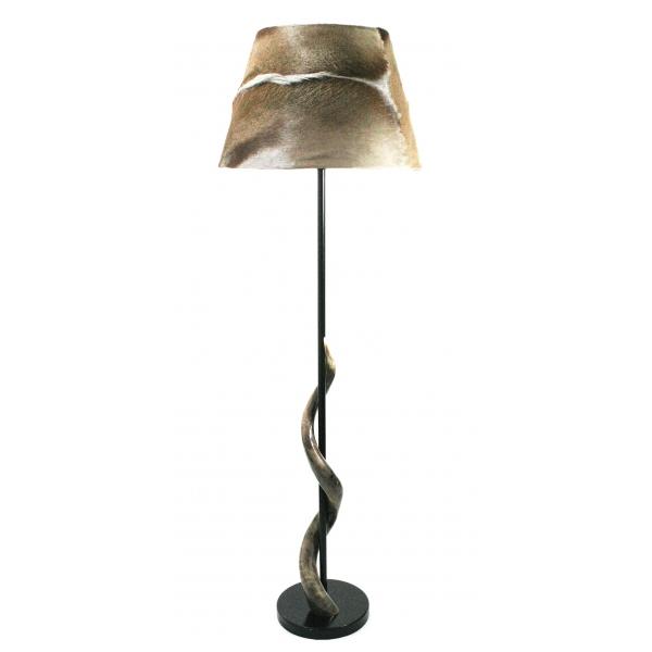 Grey Springbok on polished Kudu horn floor lamp